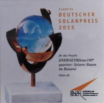 Plakette Deutscher Solarpreis 2015