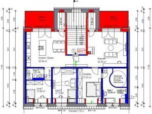 Exemplarischer Grundriss einer Wohnung im Dachgeschoss