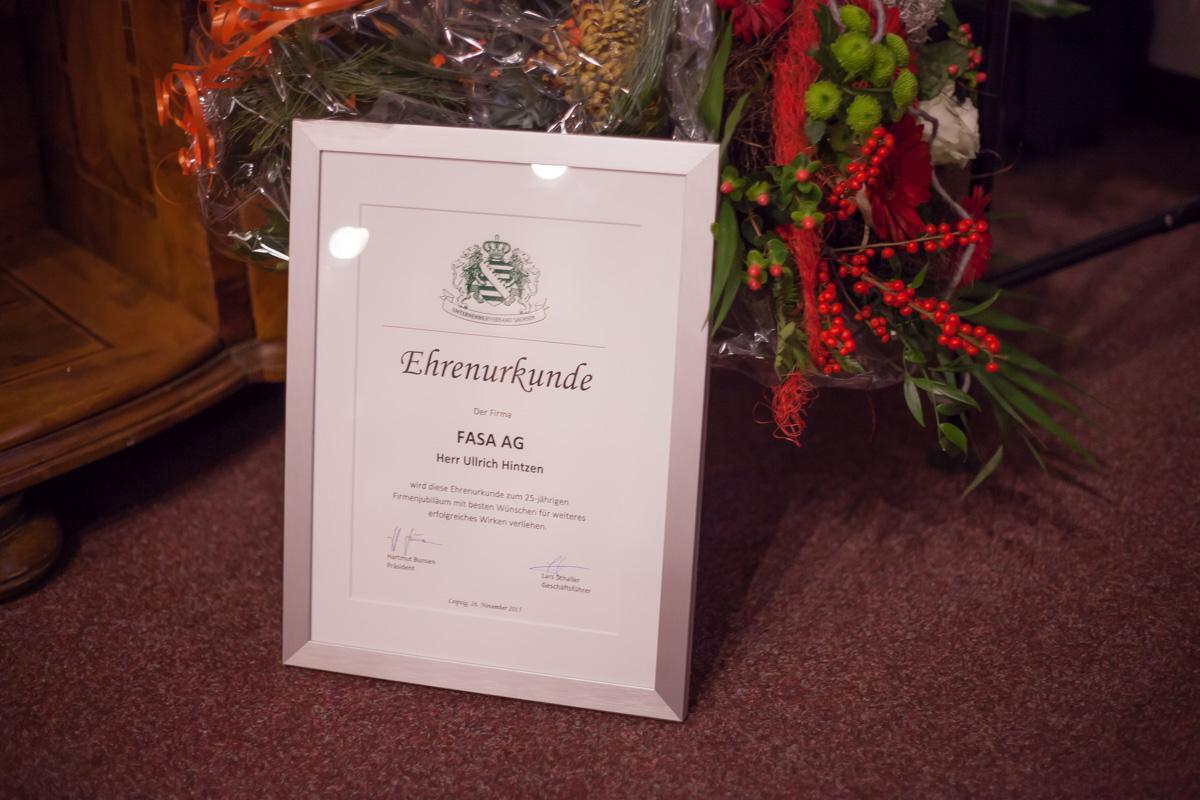 25 Jahre FASA AG: Ehrenurkunde des Unternehmerverbandes Sachsen